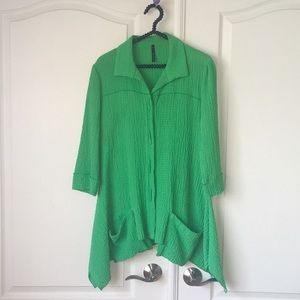 IC by Connie K Green Cardigan Jacket Tunic M